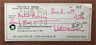 Walter Breen signed check
