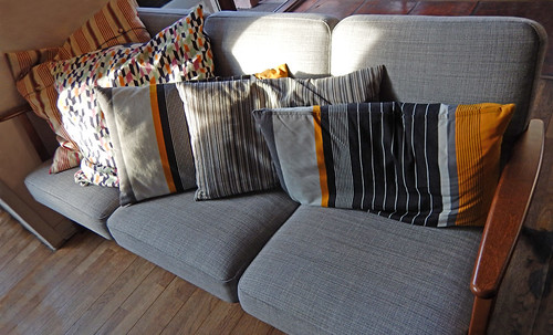 Sofa with lots of bright pillows in Skagen, Denmark