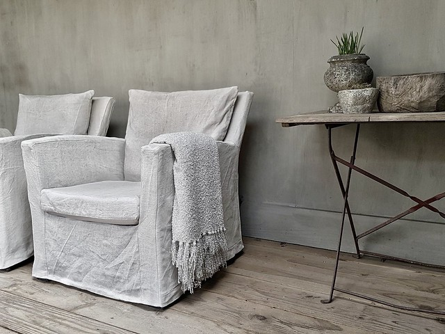 Veranda styling Lia linnen hoes tuinstoelen