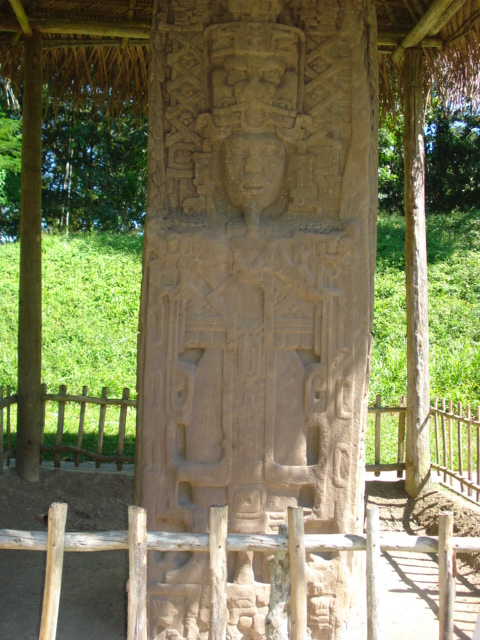 Stela C - south face - from Quiriguá, Guatemala, representing K'ak' Tiliw Chan Yopaat. Photo taken on March 28, 2009.