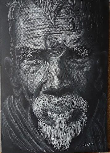 Portrait Crayon blanc 630 de Conte sur papier à grain noir Estival Color de Clairfontaine A3 160g