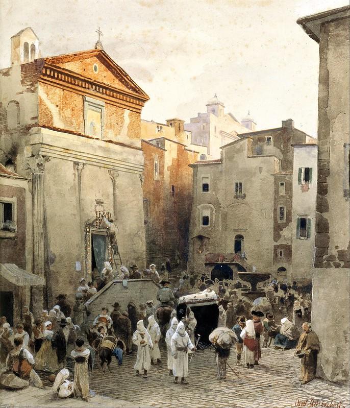Oswald Achenbach - Funeral in Palestrina (c.1857)