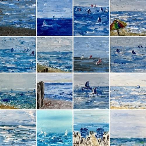 Lake Michigan love...screen shot from my phone of multiple paintings.  Artist Bridget Fox