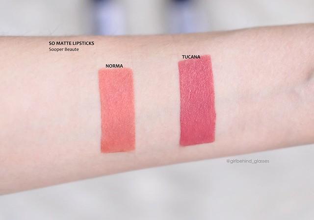 Sooper Beaute So Matte Lipsticks Norma Tucana swatches