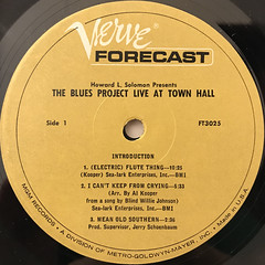 THE BLUES PROJECT:THE BLUES PROJECT LIVE AT TOWN HALL(LABEL SIDE-A)