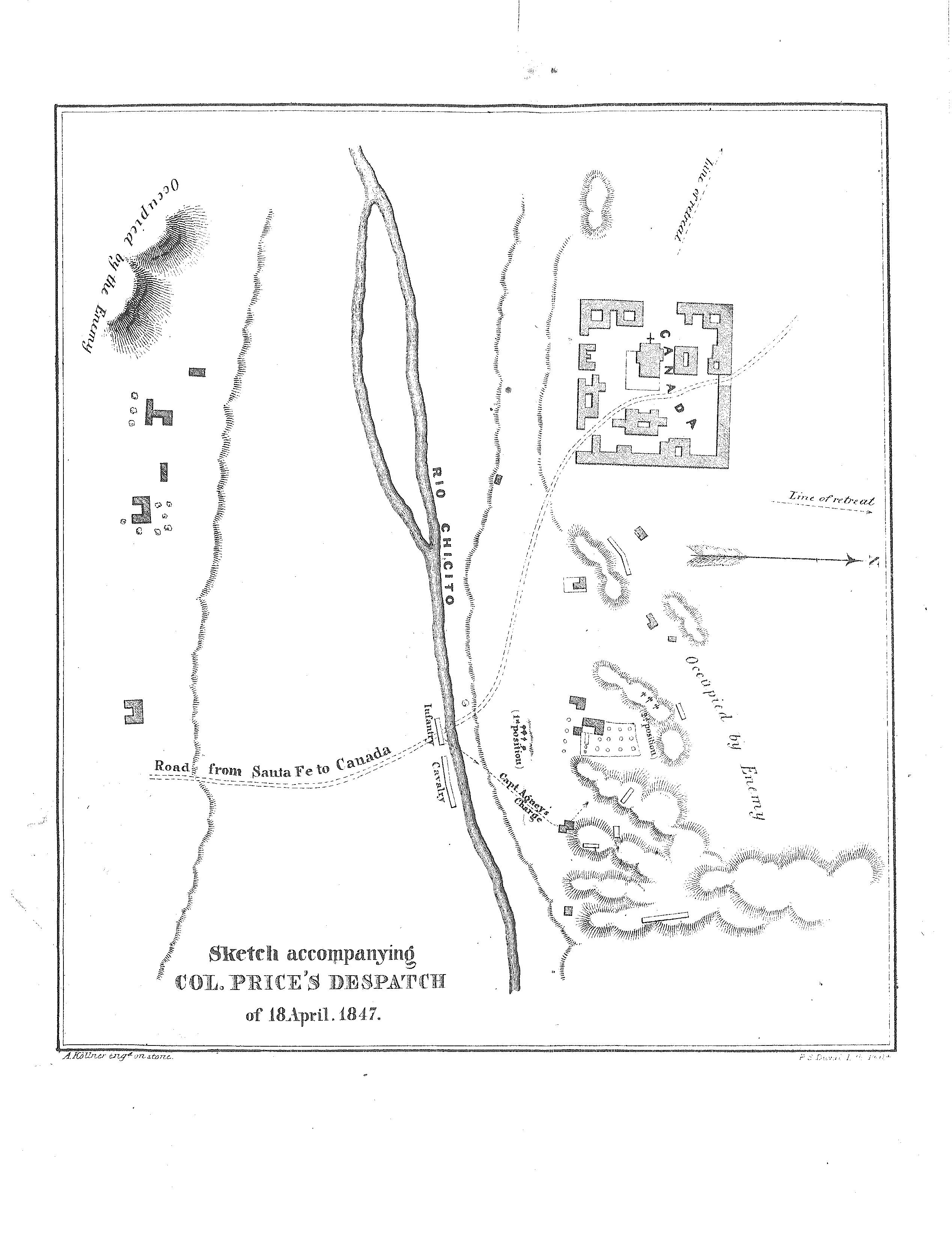 Map of the Battle of Cañada, fought in Santa Cruz, New Mexico, on January 24, 1847.