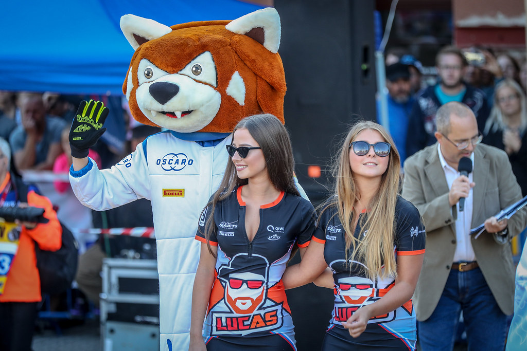 Percy and girl ambiance during the 2018 European Rally Championship ERC Barum rally,  from August 24 to 26, at Zlin, Czech Republic - Photo Alexandre Guillaumot / DPPI