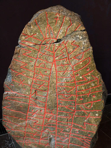 A stone marker with ancient runes written on it at the National History Museum in Copenhagen, Denmark