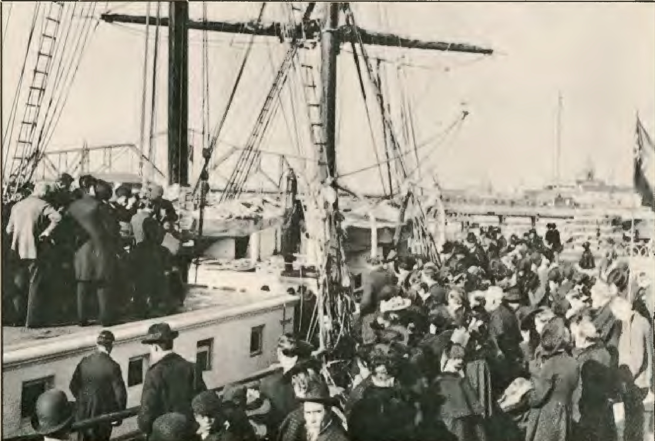 Approximately 1,500 people attended the dedication ceremonies for the schooner Pitcairn in Oakland, California, on the afternoon of September 25, 1890, which included a prayer by R.A. Underwood.