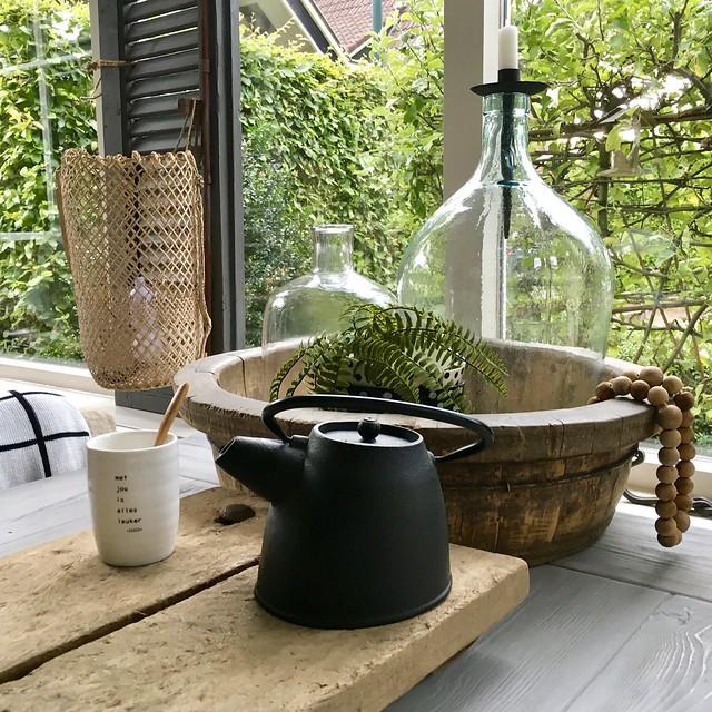 Olijfbak glazen fles met kandelaar mok Zusss