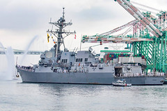 USS Dewey (DDG 105) arrives at the Port of Los Angeles, Aug. 28, to begin Los Angeles Fleet Week. (Photo courtesy of Los Angeles Fleet Week)
