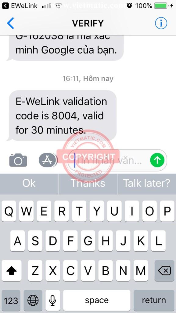 Tin nhắn SMS chứa mã xác thực (Verification code)