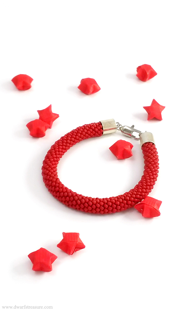 bohemian bright red beaded crochet bracelet