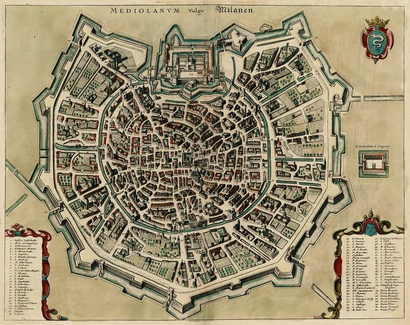 Jan Janssonius - Mediolanum vulgo Milanen (c.1660)