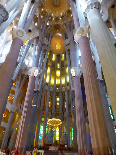 A view looking up at the impressive roof of the Sagrada Familia designed by Antoni Gaudí, and which is one of his most notable architectural works