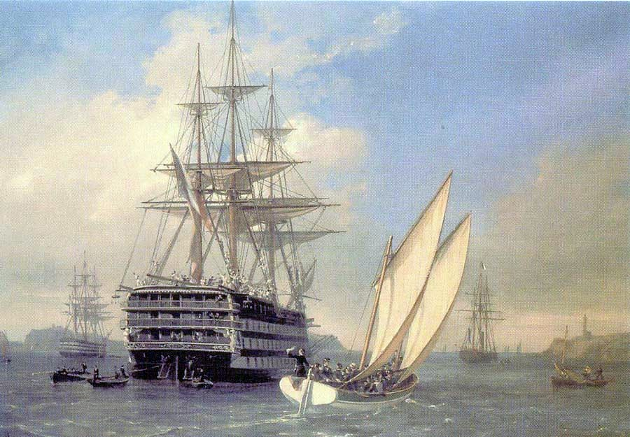 Visite by Imperatrice Eugénie aboard the Borda (ex-Valmy) on 26 July 1867, by Auguste Mayer