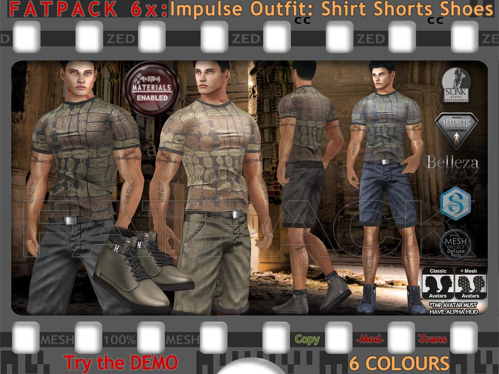 FATPACK 6x ZED MESH Impulse Outfits – Shirts Shorts Shoes