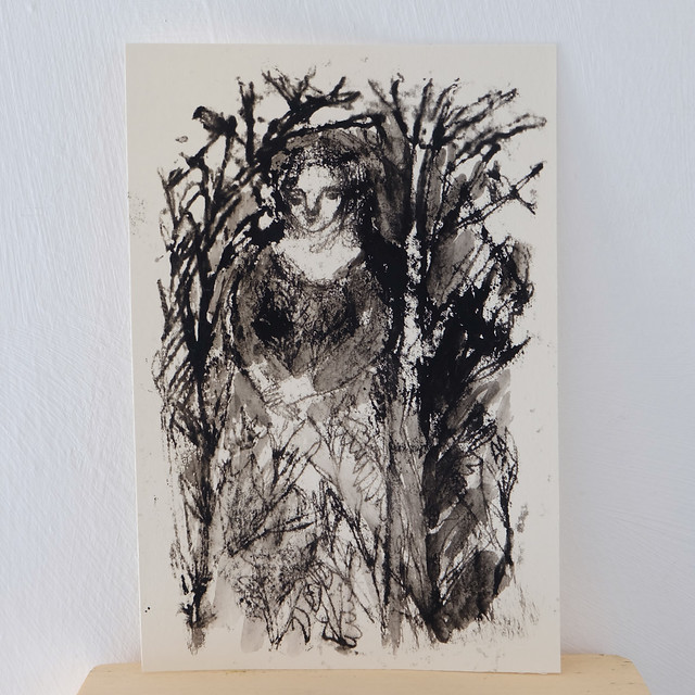 monoprint with ink wash