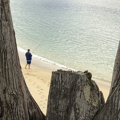 The fisherman and the squirrel/North end of Carmel River Beach