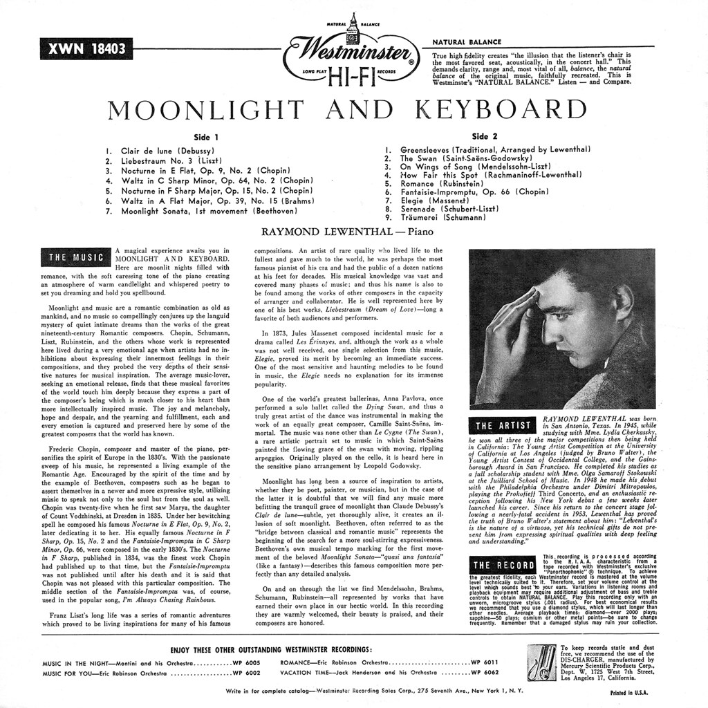 Raymond Lewenthal - Moonlight & Keyboard