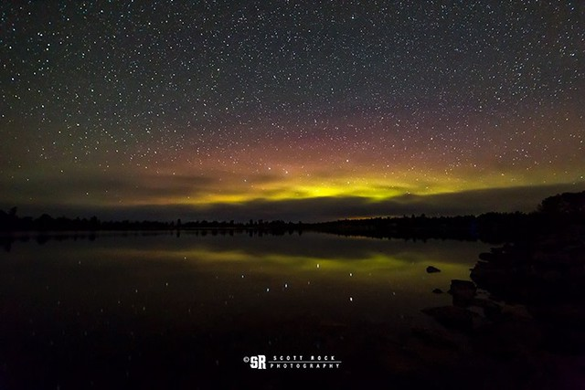 Northern Lights and airglow marbled by approaching fog captured last night where the Sauble River meets Lake Huron on the shores of Ontario, Canada // Sept 11, 2018 | 1:01 AM EST #northernlights #aurora #aurorachasing #auroraborealis Sauble Beach, Ontario