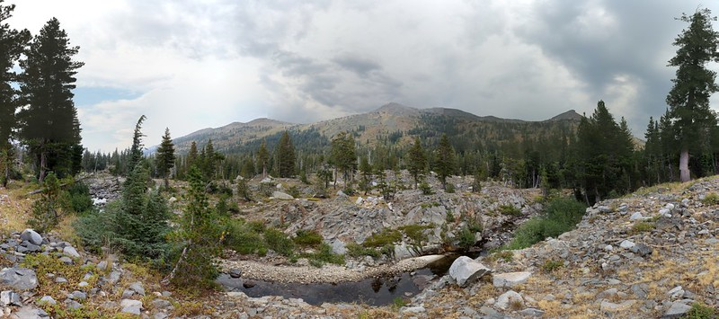 Panorama of storm clouds over Dicks and Jacks Peaks from the Rubicon Trail