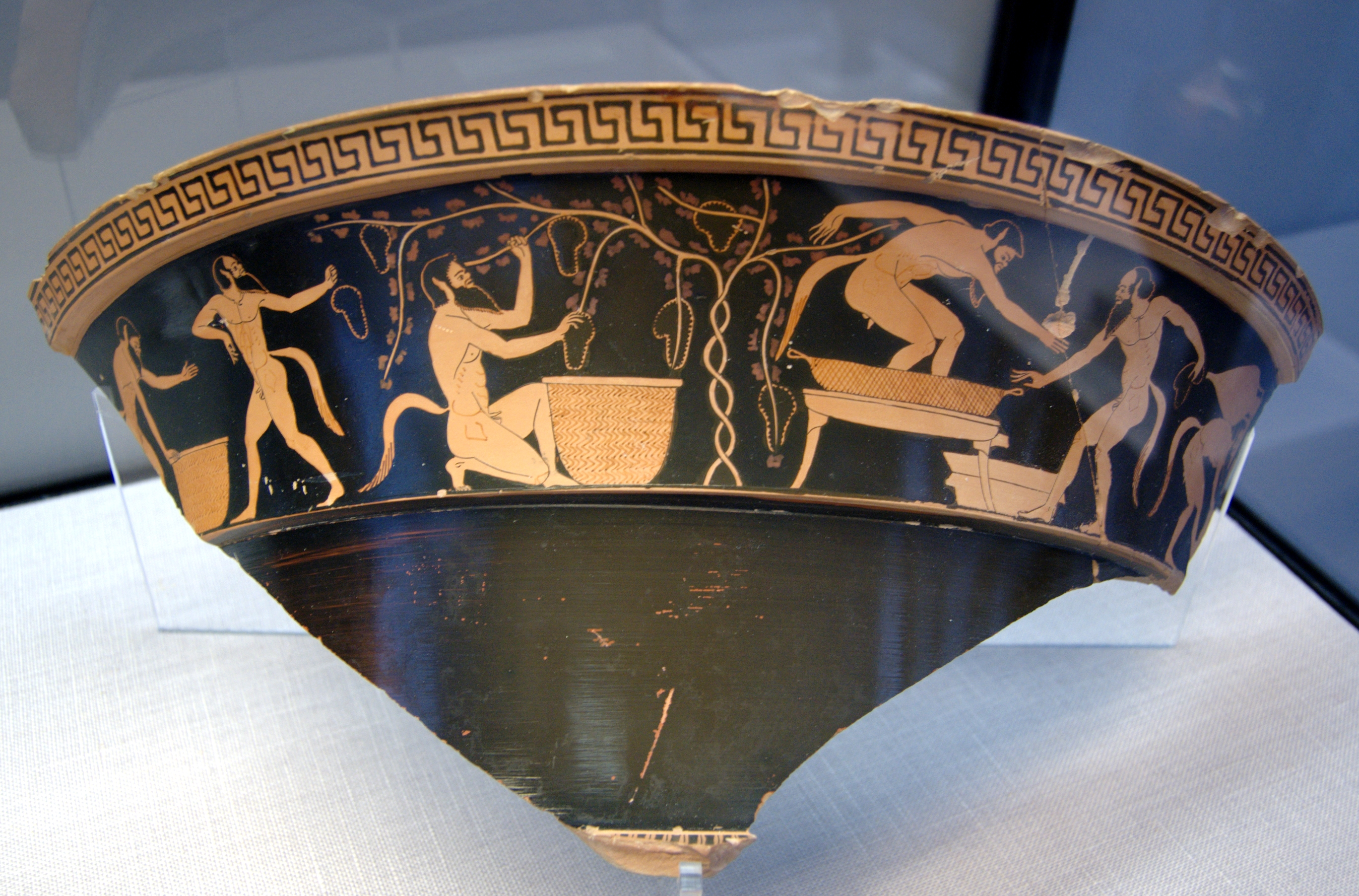Satyrs in vineyard. Attic red-figure volute-krater, ca. 490 BC, State Collections of Antiques in Munich. Photo taken on February 10, 2007.