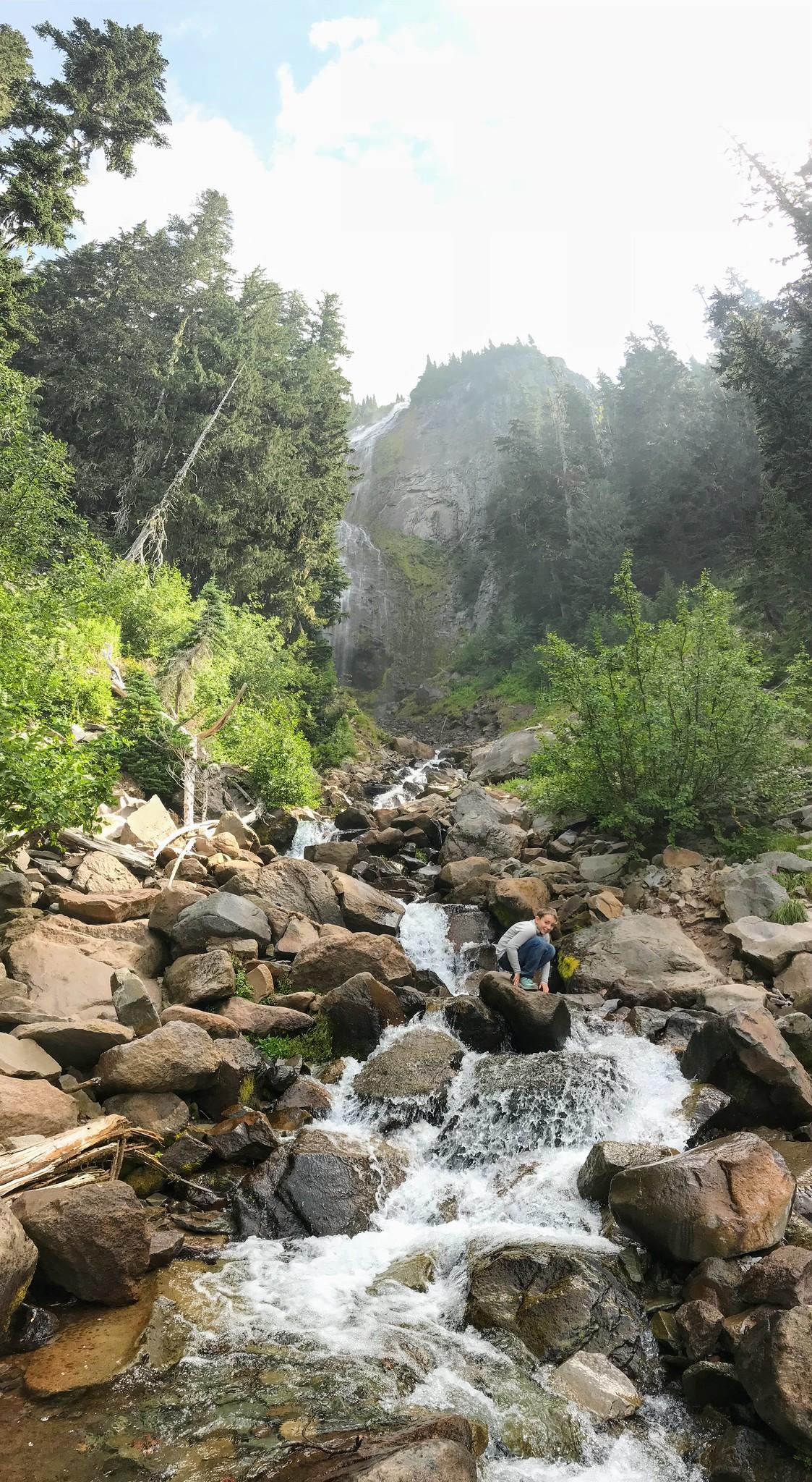 Casper below a waterfall