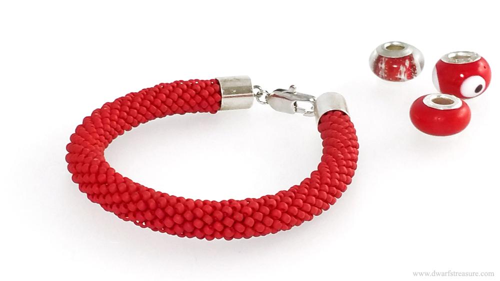 Stylish red beaded crochet bracelet