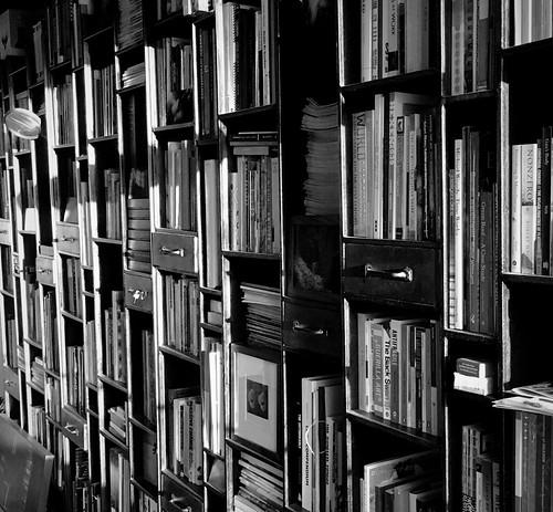 bookshelves books library sunset