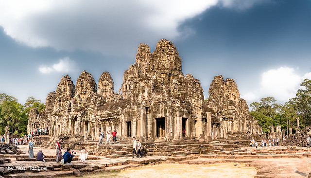 Panoramic View of the Towers of Bayon Temple, Angkor, Cambodia-12a