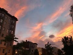 Extraordinarily colorful sunset over P Street NW, Dupont Circle, Washington, D.C.