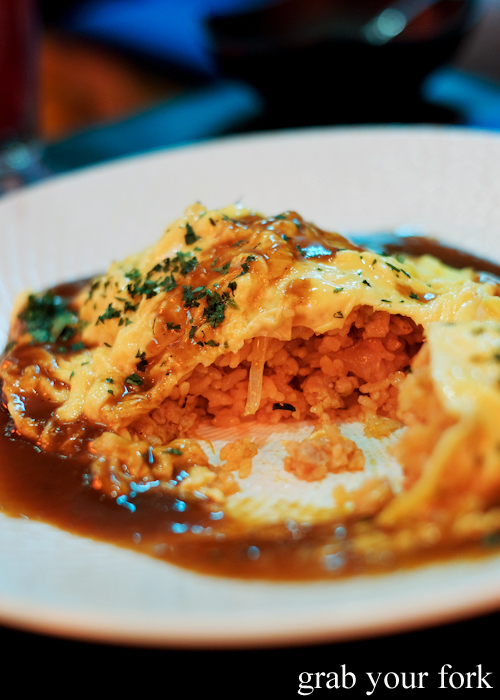 Inside the lava omurice at Bang Bang Japanese Izakaya Bar in Steam Mill and Darling Square Sydney
