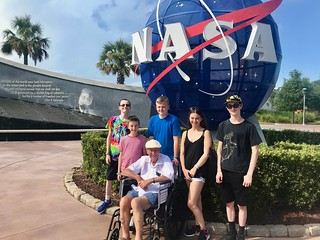 Cousins with Granddad at KSC