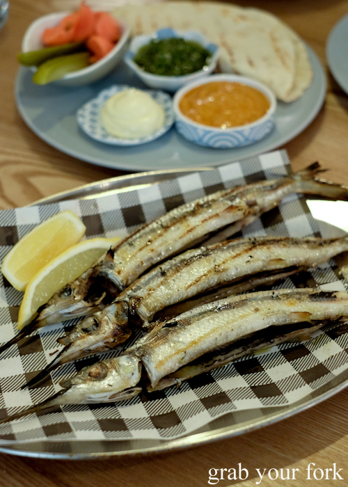 Grilled garfish with grilled tortillas at Fich seafood restaurant in Petersham Sydney