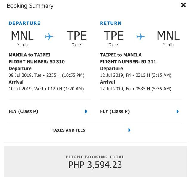 Manila to Taipei Cebu Pacific Roundtrip Promo