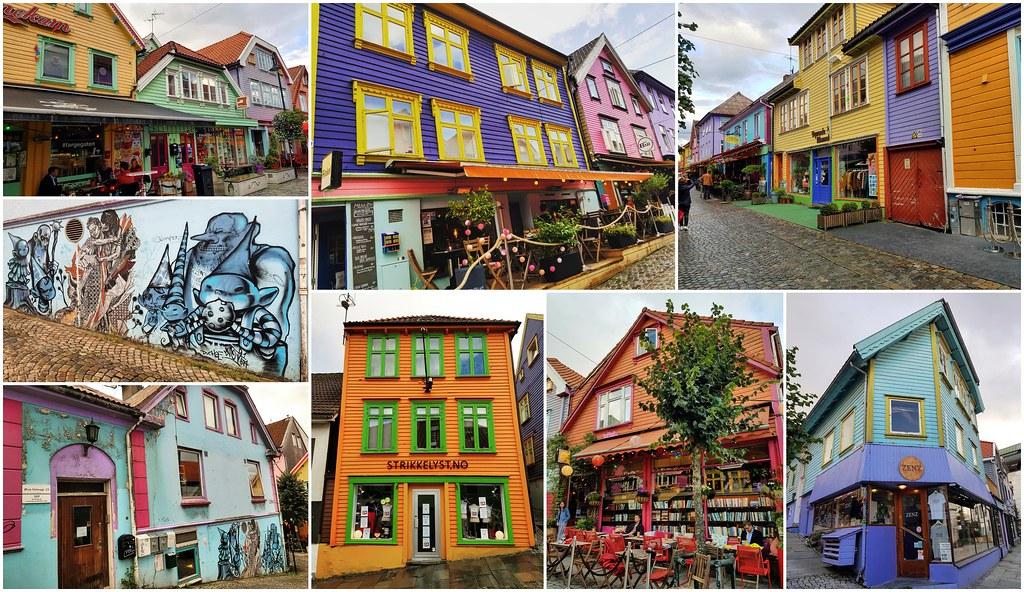 Fargegate kolorwa uliczka w Stavanger