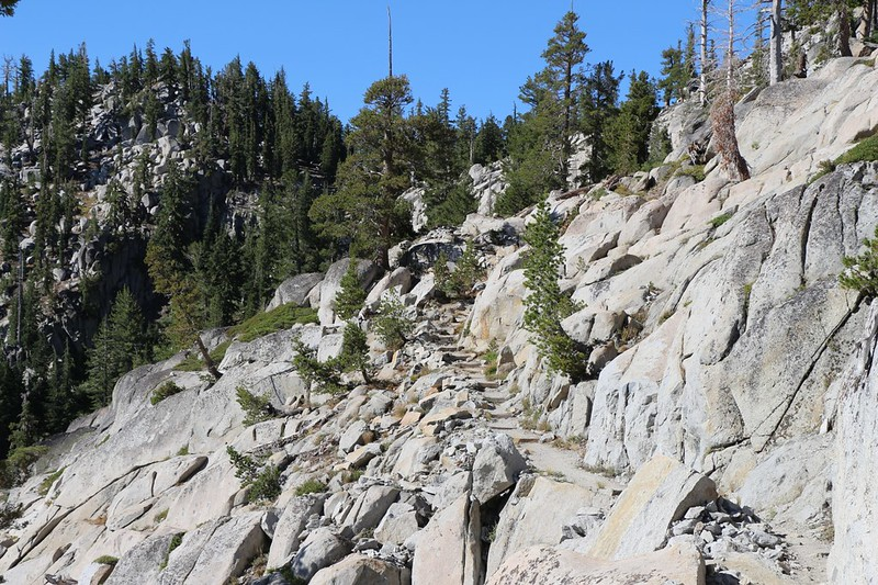Lots of steps in solid granite were created when they built the Tahoe-Yosemite Trail back in 1916