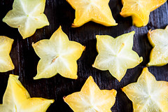Slices of tropical carambola fruit
