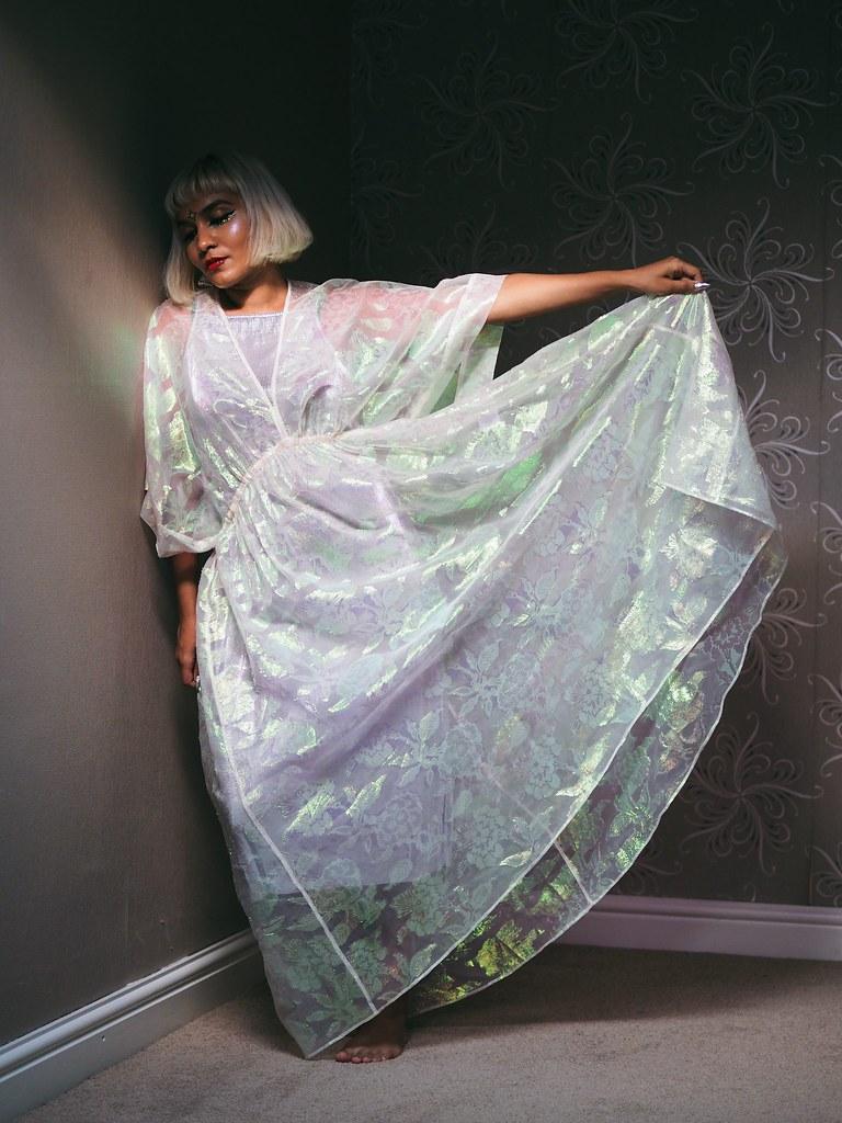 Tory Burch Iridescent Galactic Holographic Eid Dress Sari