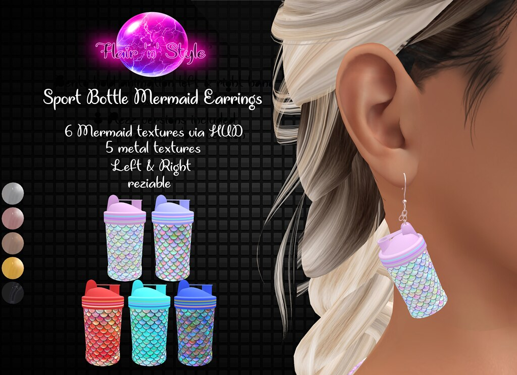 {Flair 'n' Style} Sport Bottle Mermaid Earrings