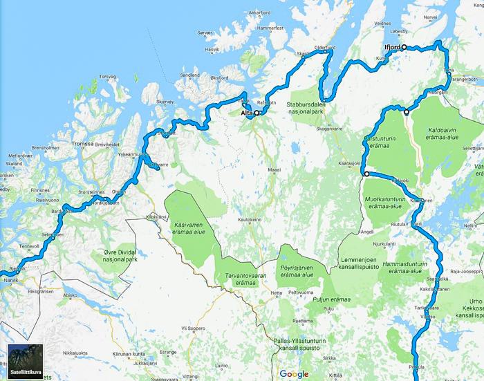 reittikartta roadtrip reittiehdotus lappi lofootit pohjois-norja