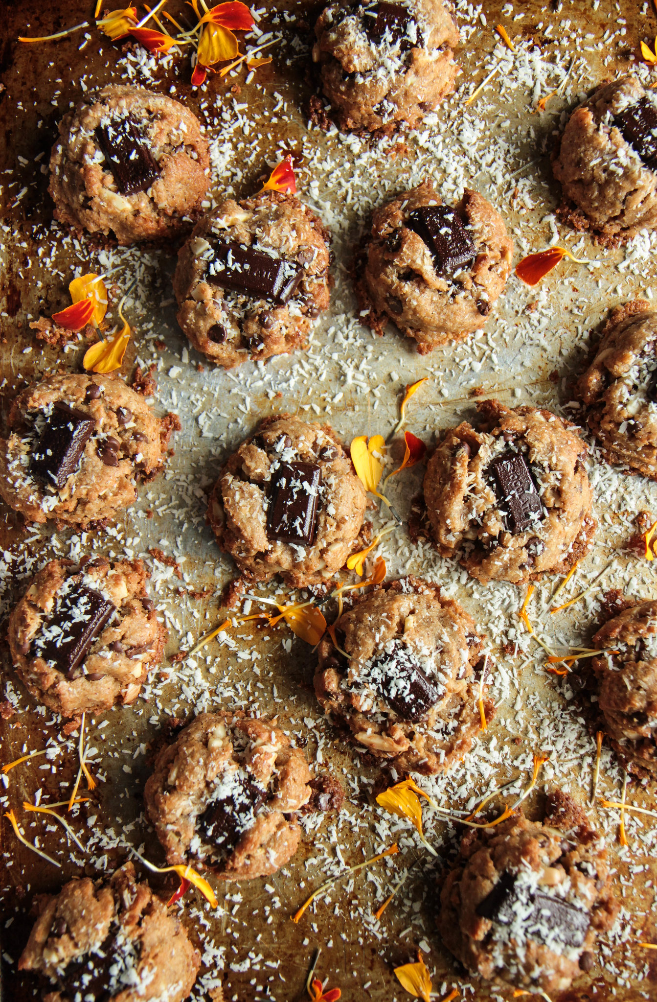 Almond, Coconut, Chocolate Chunk Cookies- Vegan and Gluten-Free from HeatherChristo.com