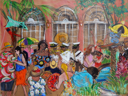 WWOZ Groove Gala 2018 Invite Image - painted by Isabelle Jacopin