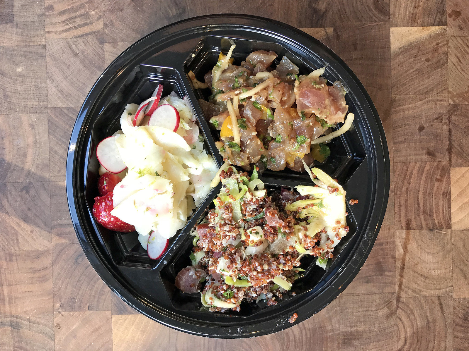 Hellefiskceviche, tuntatar, and quinoa salad at Hav Torvehallerne
