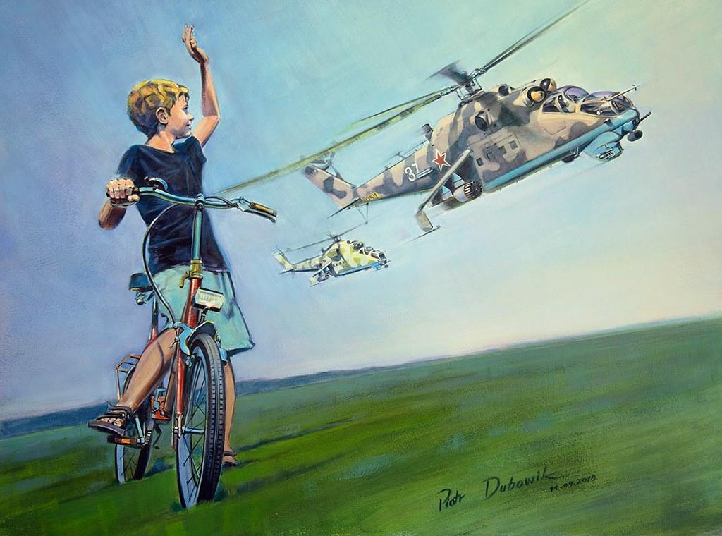Lata 80-te, chłopiec z rowerem, Mi-24V i bezkres Kraju Rad. Piotr Dubowik