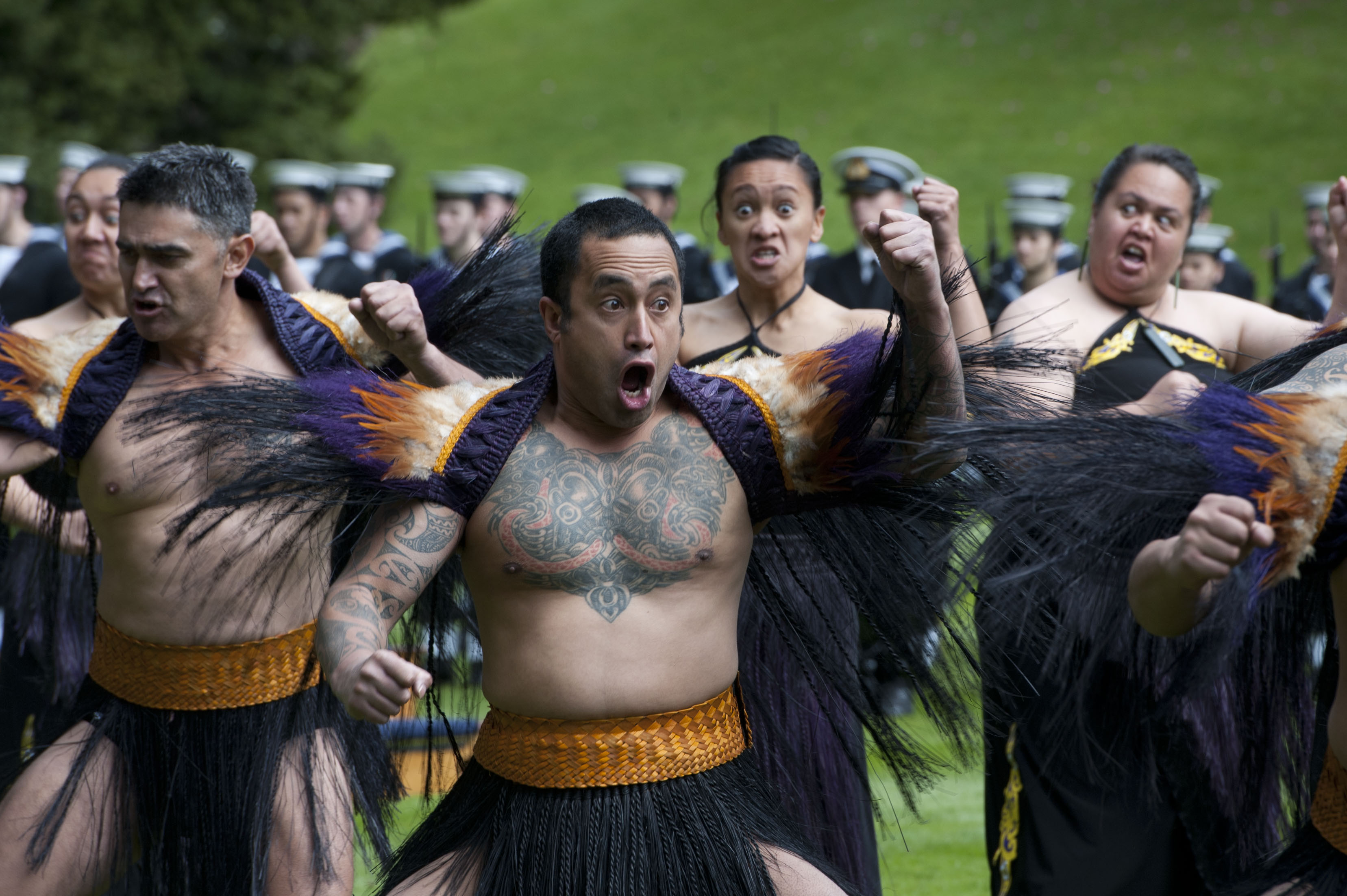 Maori warriors preform a haka dance of welcome for United States Secretary of Defense Leon E. Panetta during a Powhiri ceremony while visiting Auckland, New Zealand September 21, 2012. The ceremony is an ancient Maori tradition used to determine if visitors came in peace or with hostile intent. DoD photo by Erin A. Kirk-Cuomo (Released)