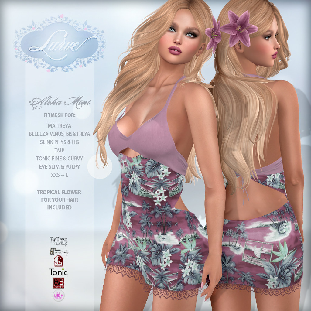 *Lurve* Aloha Love Fitmesh Dress in Blush