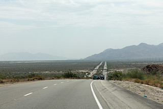 towards the desert on Interstate 10