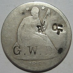 1860-S Half Dollar with GWD counterstamp and chopmarks obverse